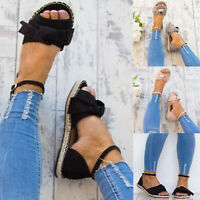 Womens Flat Peep Toe Ankle Strap Espadrilles Sandals Summer Bowknot Shoes Size10