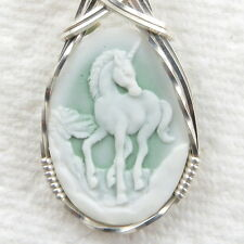Unicorn Cameo Pendant .925 Sterling Silver Jewelry Green Resin