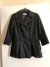 NEW Women Sharagano Black Poly/Rayon Lined 3/4 Sleeve Blazer Button Jacket.  14