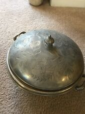 Quadruple Plate Silver Round Casserole Bowl With Lid
