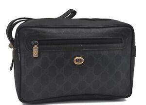 Authentic GUCCI Clutch Bag GG PVC Leather Black D7970