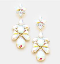 "Pageant Bridal Earrings Formal Gold 3"" Aurora Borealis Ab Austrian Crystal"