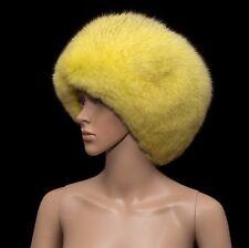 Saga Furs Genuine Dyed Blue Fox Yellow Lemon Fur Handmade Beanie Cossack Hat