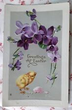 Vintage c1910 Greetings at Easter Embossed Postcard Little Chick and Violets