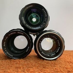 LOT OF 3 - VINTAGE NIKKOR MANUAL FOCUS PRIMES - 24 f2.8 - 50 f1.4 - 105 f2.5
