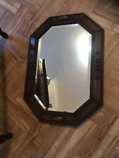 Vintage Antique Octagonal dark oak carved moulding frame wall Mirror bevelled