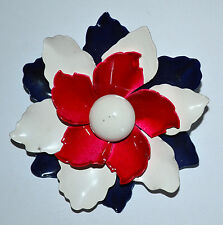 """Large Dimensional Vintage RED, WHITE & BLUE Enamel Flower LAYERED 3"""" Brooch Pin"""