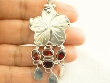Mother of Pearl Mop Flower Red Garnet Cluster 925 Sterling Silver Pendant