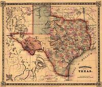 Map Antique Schonberg 1866 Texas Historic Large Replica Canvas Art Print