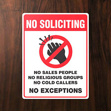 NO COLD CALLING - No Soliciting Salesman Callers Warning House Door Sticker Sign