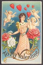 Pretty Lady Blows HEART Bubbles Flying Cupids Angel in PINK Rose Valentine pc