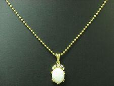 14kt 585 Gelbgold Kette & Anhänger mit Brillant & 2,23ct Opal Besatz / 47,5cm