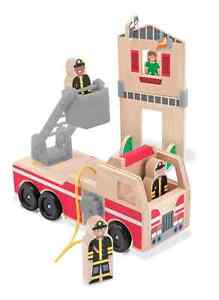 Melissa and Doug 14525 Wooden Whittle World Fire Rescue Play Set NEW