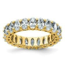 14k Yellow Gold D-Color Moissanite Oval Cut 5mm Wide 5ct Eternity Band Ring Sz 7