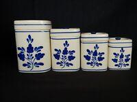 Set Of 4 Vintage Dae Ware Korea Kitchen Cannisters Lovely Blue Leaf Design