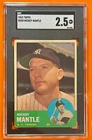 1963 Topps #200 Mickey Mantle | SGC 2.5 | New York Yankees | Legendary Card
