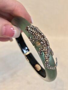 New ALEXIS BITTAR Olive Green Lucite Salamander Hinged Bracelet