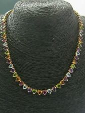 """Heart Shape Multi Gemstone Riviera Necklace Solid 14Kt Yellow Gold 37.95Ct 16"""""""