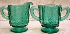 Fenton Spruce Green Panelled Grape Sugar/Creamer Set
