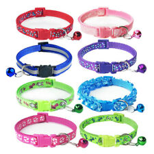 8PCS Lot Bundle Dog Collar Adjustable Neck for Small Puppy Cat W/ Buckle Bell