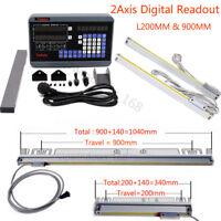 "2Axis Lathe Digital Readout DRO 8"" 36"" Linear Scale for CNC Milling Bridgeport"