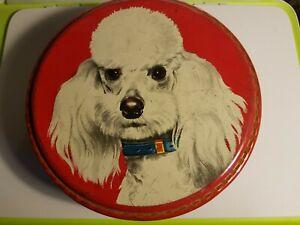 "Vintage Round Peek Frean Biscuit Tin - Poodles dogs 8"" diameter"