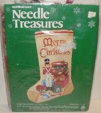 VINTAGE NEEDLE TREASURES NEEDLEPOINT KIT - Antique Toys Stocking christmas