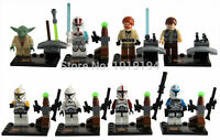 8PCS MINI FIGURES STAR WARS FIT LEGO CLONE TROOPERS YODA HAN SOLO OBI-WAN KENOBI