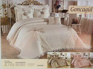 Tagesdeckenbezug Bettüberwurf Premium Design Decke 260x270cm 4Tlg  in 3 Farben