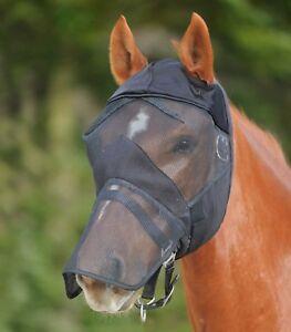 Fliegenmaske Premium ohne Ohren mit Nasenschutz  Fliegenhaube  Fliegenschutz