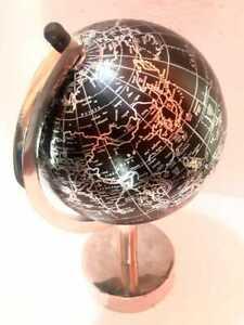 "Black & Silver Contemporary 6"" Art Deco Globe on Silver Rotating Swivel Base"