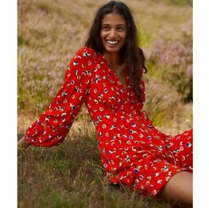 ANTHROPOLOGIE Maeve Red Floral Floaty Faux Wrap Dress Long Sleeve UK16 US12 EU44