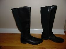 ECCO Black Leather Riding Boots Sz 40 (Sz 10) Buckle Elastic EXC COND!