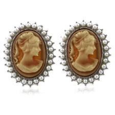 Cute Light Brown Cameo Stud Post Pierced Earrings White Faux Pearl Silver Tone k