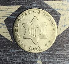 1853 THREE CENT SILVER. COLLECTOR COIN FOR COLLECTION OR SET. FREE SHIPPING