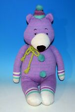 Clown Teddy Bear Purple Pink Blue Midwest CBK Plush Knit Sweater Material   2012