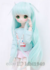 "8-9"" 1/3 BJD Wig Pullip BJD SD LUTS MSD DOD Dollfie Doll Long Blue Wgs with Bow"