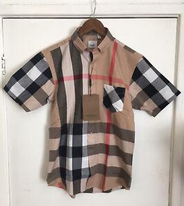 Burberry Check Short Sleeve Shirt Beige - Shorts Jumper Hat Bag Jacket