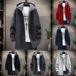 Mens Thick Warm Fleece Lined Hoodie Winter Zip Up Coat Jacket Sweatshirt Tops UK