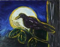 Raven Moon Original Painting Vintage 1990's Signed Robert MacDonald with COA