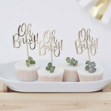 Baby Shower cake toppers x 12 gold foiled Oh baby! party table decor Ginger Ray