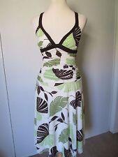 Trixxi White/Green Leaf Print Ruched Mid Calf Summer Dress NWOT SZ: S