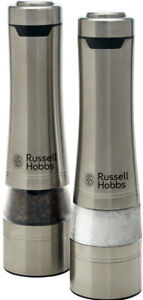 NEW Russell Hobbs Electric Salt and Pepper Mills Grinders Battery Operated Set