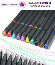 Stylo à dessin, marqueur à pointe fine 0.38mm ,10 couleurs assorties pour livres