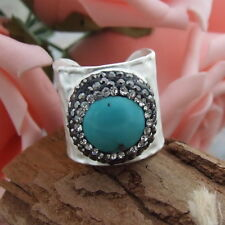 20MM Blue round turquoise trimmed with macrsite silver cuff ring