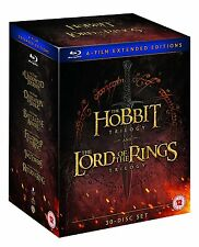 Middle Earth Lord of the Rings&Hobbit Trilogy Collection Extended Ed Blu-ray New