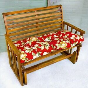 """Porch Swing Cushion Glider Bench Seat 52"""" Tufted Padded Patio Pillow Floral Red"""