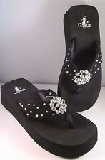 Corkey's Black Soft Foot Bed Embellished Clear Crystals Sandals Shoe Size 9 New