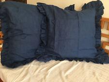 Set of 2 Shabby Softened 100% Linen Ruffle Euro Shams Pillow Cases Navy Blue