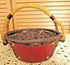 Vintage OVAL NATURAL Wicker DECOR Basket ROPE HANDLE LEATHER SIDE POCKETS